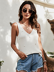 cheap -Women's Tank Top Vest Plain V Neck Basic Streetwear Tops Cotton Yellow Blushing Pink White