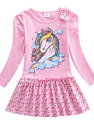 cheap -Kids Little Girls' Dress Unicorn Cartoon Unicorn Animal Cotton Dress Print Yellow Blushing Pink Fuchsia 100% Cotton Knee-length Long Sleeve Regular Cute Sweet Dresses Children's Day Fall Spring Slim