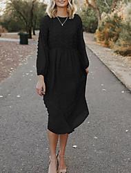cheap -Women's Loose Midi Dress ArmyGreen Red Wine Black Long Sleeve Yarn Dyed Dot Spring Summer Ladies Casual Loose 2021 S M L XL