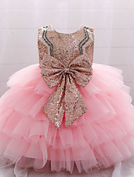 cheap -Kids Little Girls' Dress Sundress Solid Colored Strap Dress Party Wedding Patchwork Bow Blue Blushing Pink Dusty Rose Maxi Sleeveless Casual Princess Dresses Summer Regular Fit 2-6 Years