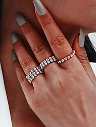 cheap -Ring 3-Piece Set Silver Rhinestone Artistic Fashion Classic 3pcs One Size