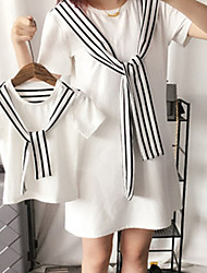 cheap -Dresses Mommy and Me Cotton Striped Daily Wear Drawstring Black Red Short Sleeve Above Knee Sweet Matching Outfits / Summer