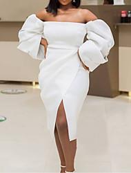 cheap -Women's Plus Size Dress Sheath Dress Knee Length Dress Long Sleeve Work Solid Color Ruched Off Shoulder Elegant Spring Summer Yellow Orange White L XL XXL XXXL