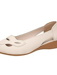 cheap -Women's Flats Flat Heel Round Toe PU Solid Colored Black Beige