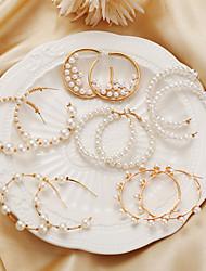 cheap -Earrings Set Geometrical Stylish Elegant European Sweet Pearl Earrings Jewelry Gold For Wedding Party Evening Street Date Beach
