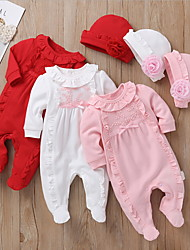 cheap -Baby Girls' Romper Basic Cotton Blushing Pink White Red Floral Print Long Sleeve / Fall