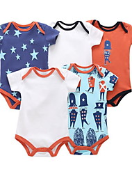 cheap -5 Pieces Baby Boys' Basic Print Solid Colored Print Short Sleeves Romper Rainbow