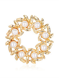 cheap -Dinner Party Ladies Exquisite Alloy Decoration Foreign Trade Leaf Ring Flower Pearl Brooch