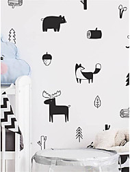cheap -Nordic Forest Animal Wall Stickers Self-adhesive Cartoon Tribal Stickers Children's Room Decoration Fox Hill Wall Stickers