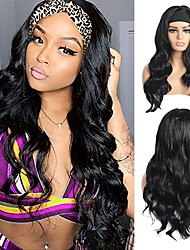cheap -Long Body Wavy Headband Wig for Black Women 12-30 inch High Density Glueless Black Long Curly Human Hair Headband Wigs Natural Looking for Daily Party Wear(1B)