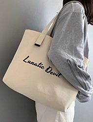 cheap -Canvas Shoulder storage bag back to school Halloween goody bag white  letters portable grocery shopping cloth book tote   42*38 cm
