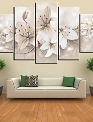 cheap -5 Panels Wall Art Canvas Prints Painting Artwork Picture Lily Floral Plant Home Decoration Décor Rolled Canvas No Frame Unframed Unstretched
