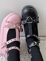 cheap -Girls' Heels Flower Girl Shoes Princess Shoes PU Sequins Big Kids(7years +) Daily Party & Evening Rivet Buckle Black Pink Spring Summer / Rubber