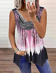 cheap -Women's Tank Top Vest Graphic Color Block Flowing tunic Print V Neck Basic Streetwear Tops Purple Blushing Pink Khaki