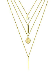 cheap -gold boho layered necklaces for women 14k gold plated dainty multilayer heart bar coin moon star disc pendant chain choker necklaces jewelry