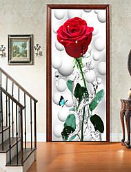 "cheap -2pcs Self-adhesive Creative Rose Flower Door Stickers Living Room Diy Decorative Home Waterproof Wall Stickers 30.3""x78.7""(77x200cm), 2 PCS Set"