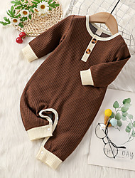 cheap -Baby Boys' Active Basic Solid Colored Patchwork Long Sleeve Romper Blue Gray Green