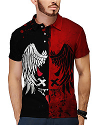 cheap -Men's Golf Shirt 3D Print Wings Letter Button-Down Short Sleeve Casual Tops Casual Fashion Breathable Black