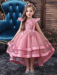 cheap -Kids Little Girls' Dress Solid Colored Layered Dress Wedding Party Beaded Embroidered Layered Blushing Pink Wine Khaki Asymmetrical Short Sleeve Active Sweet Dresses New Year Slim 3-12 Years