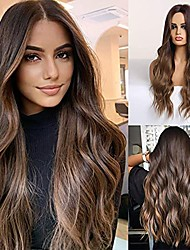"""cheap -Long Ombre Brown Hair Wig for Women Synthetic Curly Hair Wig Middle Parting 26"""""""