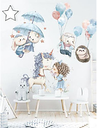 cheap -Unicorn children's room decoration stickers rabbit elephant cartoon cute stickers bedside balloon self-adhesive background wall stickers
