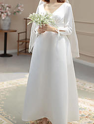 cheap -A-Line Wedding Dresses Plunging Neck Ankle Length Spandex Long Sleeve Country with Buttons 2021