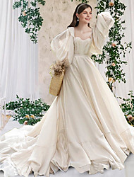 cheap -A-Line Wedding Dresses Scoop Neck Chapel Train Chiffon Long Sleeve Formal Simple Luxurious with Pleats 2021