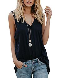 cheap -Women's Tank Top Vest Plain V Neck Basic Streetwear Tops Cotton Yellow White Black