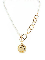 cheap -necklace golden round brand head pendant pearl necklace sweet cool style necklace