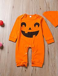 cheap -Baby Boys' Halloween Romper Halloween Cotton Orange Print Print Long Sleeve / Summer