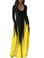 cheap -Women's Swing Dress Maxi long Dress Light Yellow Light Blue fluorescent green Need picture package to contact customer service Weight 5XL-320g Purple Yellow Grey Green Red Long Sleeve Multi Color
