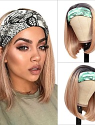 cheap -Headband Wig is Suitable For Women's Gradient Wig 12 Inches (about 30.5 cm) Synthetic Headband Wig Short Bob Wig Suitable For Women More Color Straight Hair