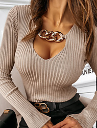 cheap -Women's Pullover Sweater Knitted Hole Solid Color Stylish Sexy Long Sleeve Sweater Cardigans U Neck Fall Winter Spring Khaki White Black / Holiday