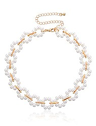 cheap -bohemia flower collar choker handmade necklace with simulated pearl short clavicle chain for women wedding jewelry