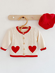 cheap -Kids Girls' Jacket & Coat 1pc Long Sleeve Beige Solid Color Daily Wear Casual / Daily 0-1 Years