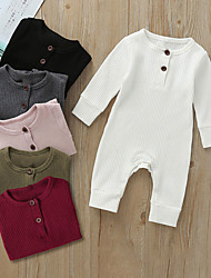 cheap -Baby Boys' Basic Solid Colored Long Sleeve Romper Blushing Pink Wine Army Green