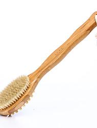 cheap -Bamboo Bristle Double Side Massage Brush Bath Brush Long Handle Bath Brush With Massage Head