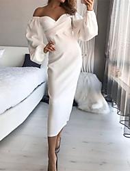 cheap -Women's Sheath Dress Midi Dress White Long Sleeve Solid Color Wrap Spring Summer Off Shoulder Elegant 2021 S M L XL