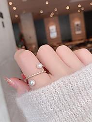 cheap -korean version of the internet celebrity popular micro-inlaid zircon pearl cross ring simple personality flashing diamond niche design ring bracelet