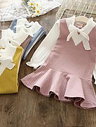 cheap -Toddler Little Girls' Dress Striped Patchwork Blue Blushing Pink Above Knee Short Sleeve Basic Dresses 2-6 Years