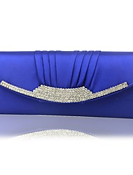 cheap -Women's Girls' Bags Silk Coin Purse Crystals Chain Solid Color Outdoor Evening Bag Chain Bag Royal Blue