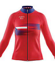 cheap -21Grams Women's Long Sleeve Cycling Jersey Spandex Red American / USA Bike Top Mountain Bike MTB Road Bike Cycling Quick Dry Moisture Wicking Sports Clothing Apparel / Stretchy / Athleisure