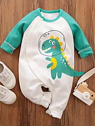 cheap -Baby Boys' Basic Dinosaur Animal Print Long Sleeve Romper Green