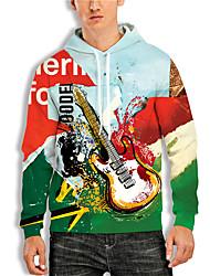 cheap -Men's Pullover Hoodie Sweatshirt Graphic Prints Guitar Print Hooded Daily Sports 3D Print 3D Print Casual Hoodies Sweatshirts  Long Sleeve Blue