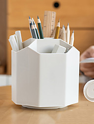 cheap -Plastic Large Capacity Rotating Desk Pen Holder Pencil Makeup Storage Box Desktop Organizer Stand Case School Office Stationery13*14*11cm 1 pcs