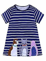 cheap -toddler girl casual dress short sleeve striped dress cat applique 4t