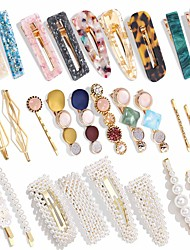 cheap -28 PCS Hingwah Pearls and Acrylic Resin Hair Clips Handmade Hair Barrettes Marble Alligator bobby pins Glitter Crystal Geometric Hairpin Elegant Gold Hair Accessories Gifts for Women Girls