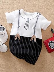 cheap -Baby Boys' Basic Striped Color Block Bow Print Short Sleeves Romper Gray Black