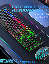 cheap -Free Wolf T13 Spanish Keyboard With Lighted Keys And Mouse Logo Set Game Backlight