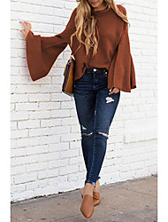 cheap -Women's Pullover Sweater Classic Style Solid Color Basic Elegant Casual Cotton Long Sleeve Loose Sweater Cardigans Round Neck Fall Winter caramel colour Red Wine White / Work